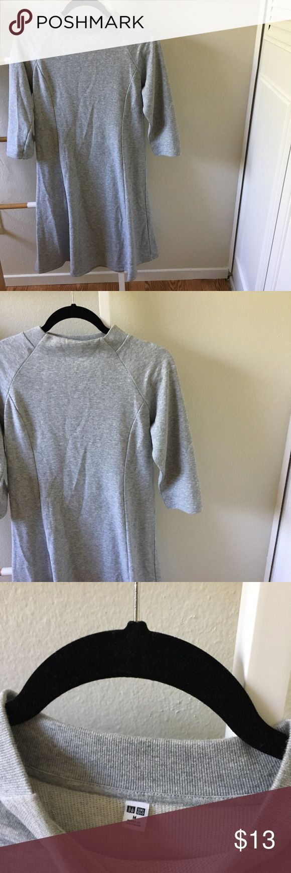 Uniqlo Sweater Dress Super cute Uniqlo sweater dress. Size medium, short sleeve, grey dress. Can be worn with heels or sneakers. Only worn once! Club Monaco Dresses