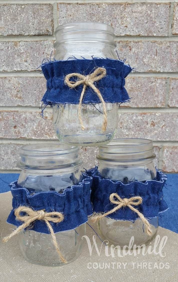 Denim Mason Jar Sleeves Blue Jean Wedding Decor Set Of 3