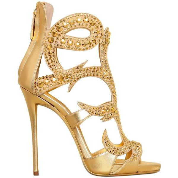 Giuseppe Zanotti Women 120mm Swarovski Metallic Leather Sandals (6,925 PEN) ❤ liked on Polyvore featuring shoes, sandals, heels, gold, metallic heel sandals, embellished sandals, giuseppe zanotti sandals, high heel sandals and heeled sandals