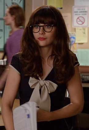 Zooey Deschanel's Navy dress with white tie front on New Girl Season 3. Outfit Details: http://wwzdw.com/z/4368/ #WWZDW