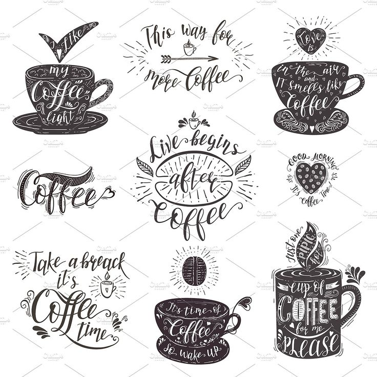 Set of Quotes for coffee. Lettering. by Designwork on @creativemarket
