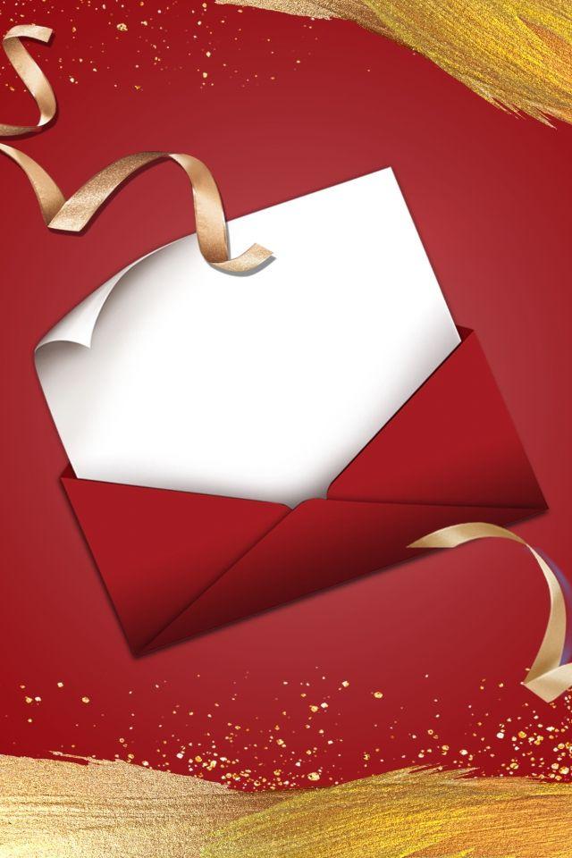 دعوة حمراء ذهبية غلاف مغلف خلفية الإعلان أضيق الحدود أحمر دعوة ذهبي مغلف جو بسيط إعلان خلفية Valentines Wallpaper Gold Envelopes Invitation Cards