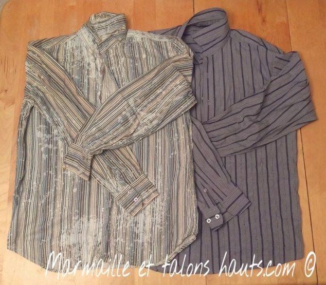 Suite à mon couturiel du petit tablier à bretelles croisées dans le dos réversible, j'en au fait un à partir de chemises recyclées.  Venez voir ce ça donne sur marmailleettalonshauts.com