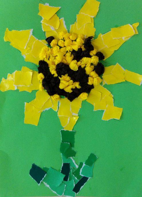 Sonnenblume mit Schnipseltechnik - Kinderspiele-Welt.de