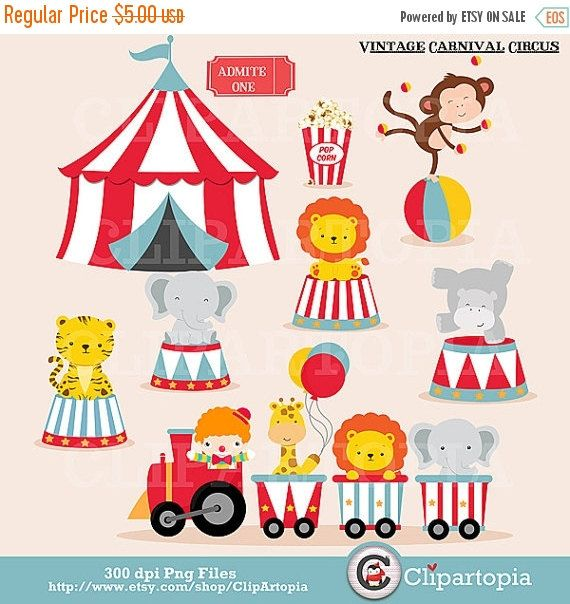 50% OFF SALE Vintage Carnival Circus Digital clipart / Animal Circus clip art / Circus Train Clipart For Personal and Commercial Use/Instant