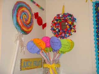 Birthday Corner. When one of the kids have a birthday, they get a pixie stick balloon. Put their picture in the frame inside the wreath and hang it outside the classroom door.