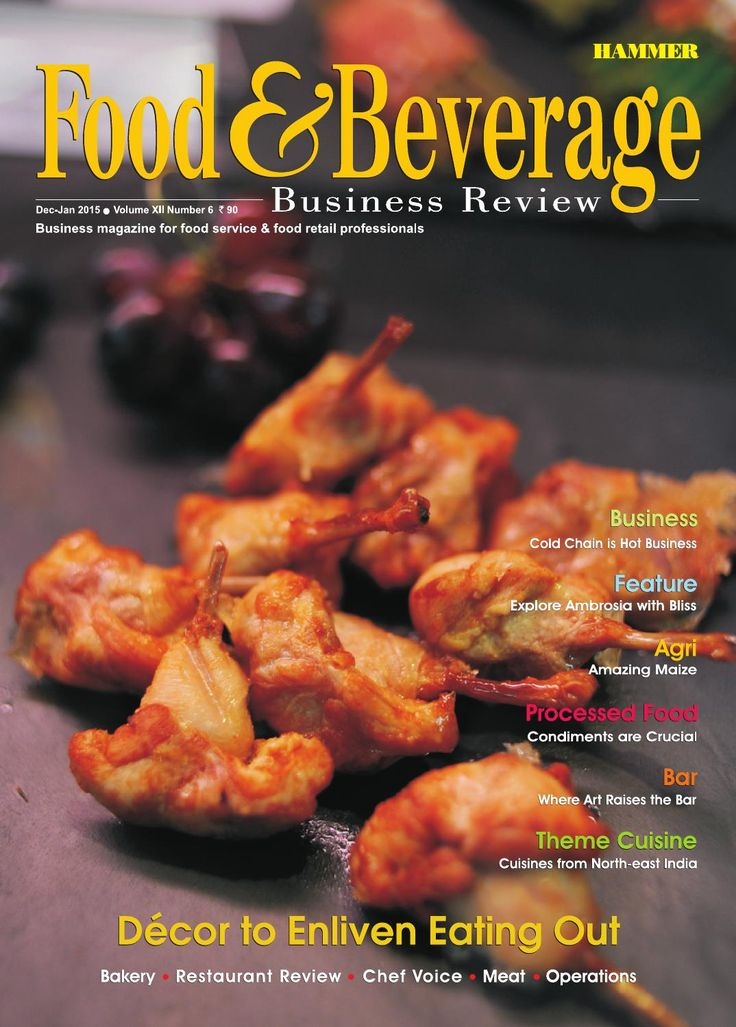 Food & Beverage Business Review ( December-January 2015)  In our Cover Story, we have focused on the increasingly important role of décor in restaurants, in the Indian food service industry. We have also covered some restaurants which are characterised by extraordinary design elements. The discouraging state of our cold chain infrastructure and the attractive opportunity for entrepreneurship that the cold chain sector holds in India are being discussed in our Business Story. An elegant bar…