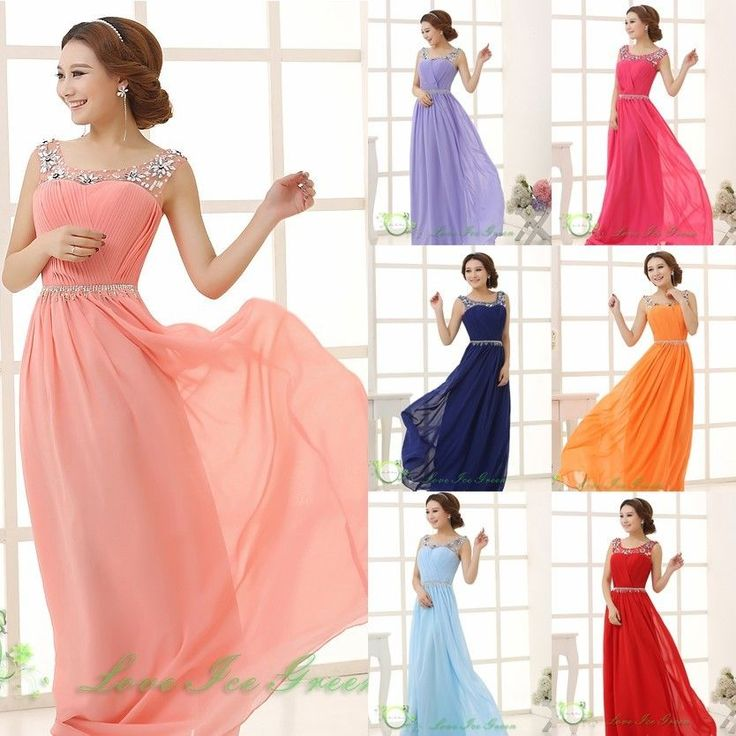 Chiffon Wedding Evening Party Formal Ball Prom Gown Bridesmaid Lady Long Dress