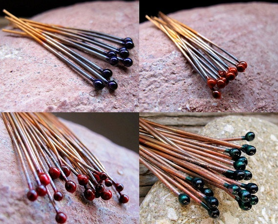 Handmade Jewelry findings supplies store: Enameled Head pins.