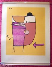 Rare Old Paul Klee Abstract Print of Derby Hat and Flower
