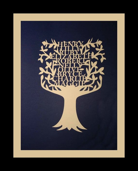 Personalized Papercut  Family Tree.  Featuring by RubyCanoeDesign