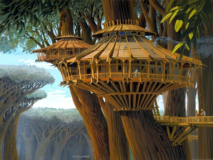 tree house concepts | tree-house concept art by Ralph McQuarrie used in The Star Wars ...