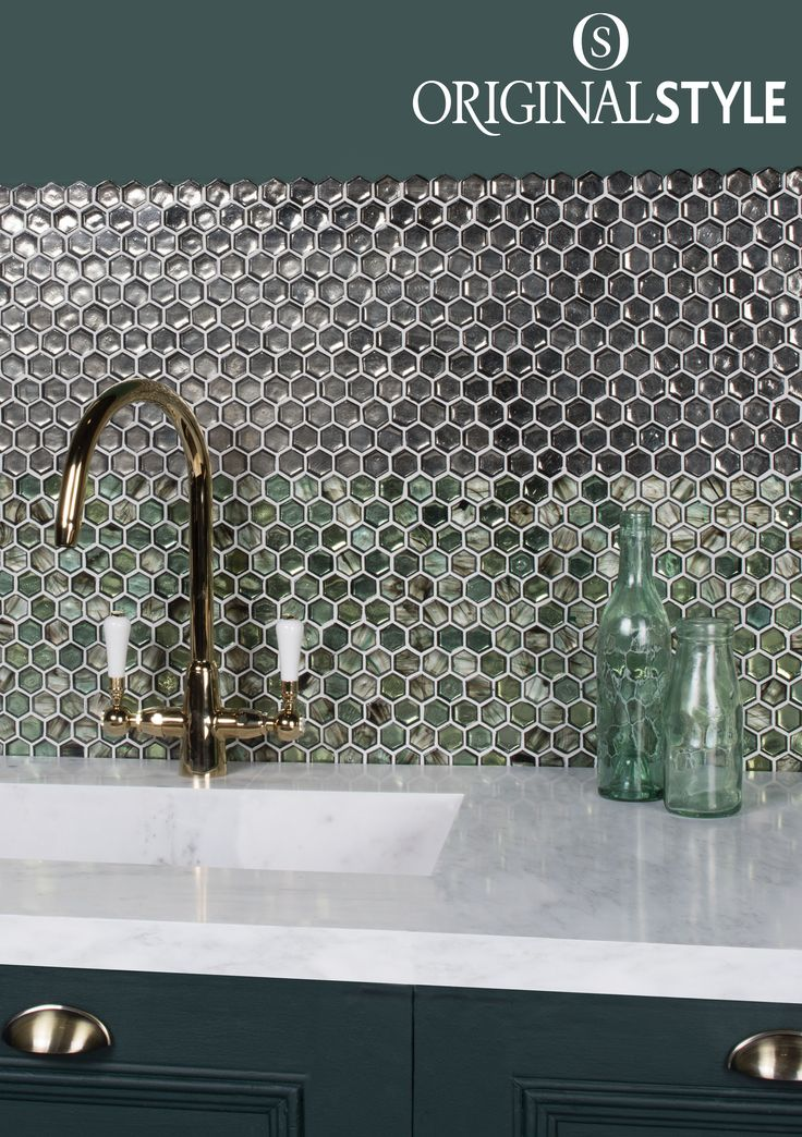 Poona and Chanda glass hexagon mosaics by Original Style glisten and glitter in different lights. Add some sparkle and shine to your home by using these hexagon wall tiles in your bathroom or kitchen.