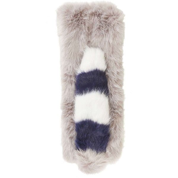 TOPSHOP Faux Fur Striped Pull-Through Stole ($33) ❤ liked on Polyvore featuring accessories, scarves, grey, striped scarves, gray shawl, loop scarves, faux fur scarves and gray scarves