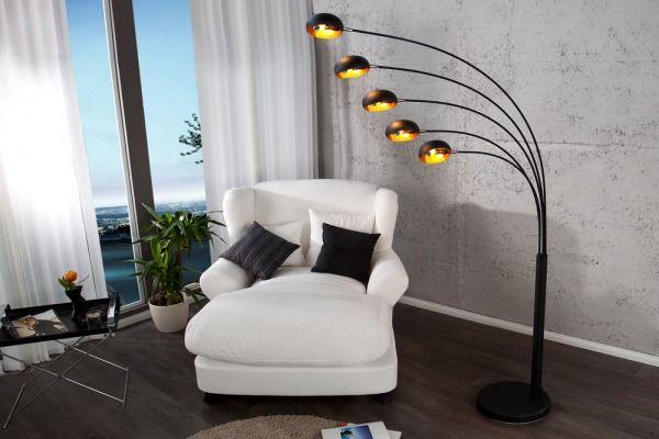 Lampa 5 Branchs Black & Gold