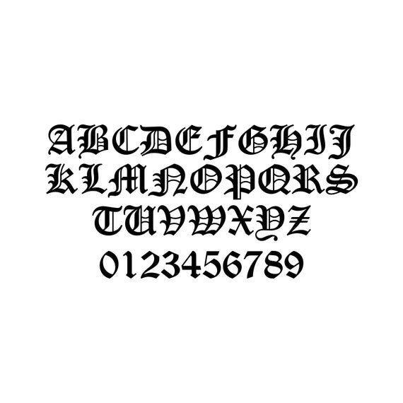 """ALTER ENGLISCHER BUCHSTABE 1 """"-20"""" Vinyl Sticker – Initial Tattoo Script Letteri…"""