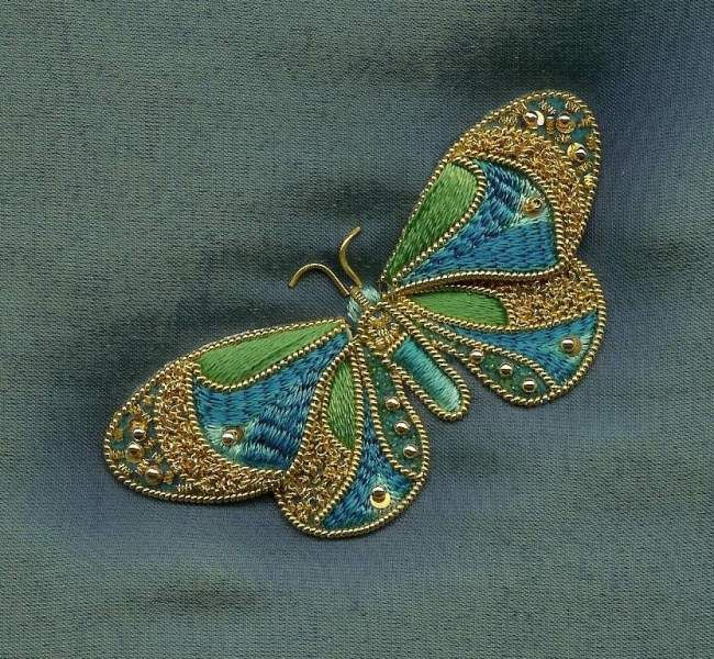 Goldwork butterfly - stitchin fingers