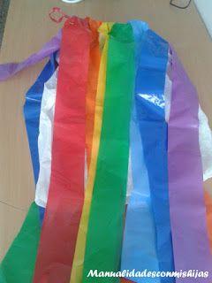 Manualidadesconmishijas: Disfraz de arco iris fácil y económico con bolsas de plástico