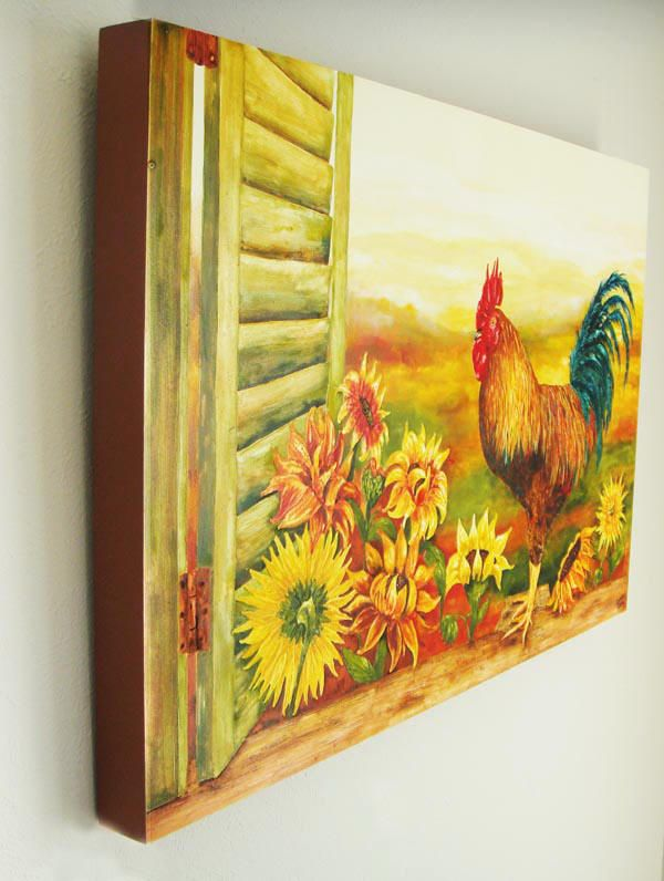 Sunflower And Rooster Decor   Kitchen Art Prints On Canvas