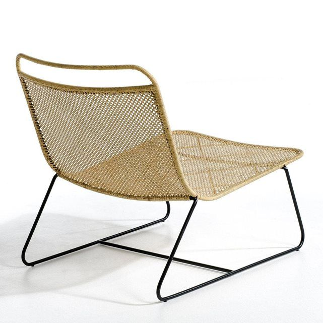 Création Emmanuel Gallina, en exclusivité pour AM.PM. Un fauteuil lounge au superbe design très aérien, tout en légèreté, très contemporain. Assise et dossier en rotin tressé.