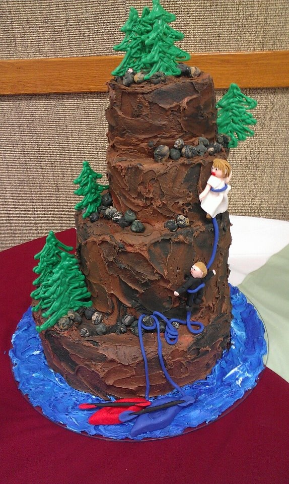 Candy Melt Trees on this Rock Climbing Wedding Cake! # ...