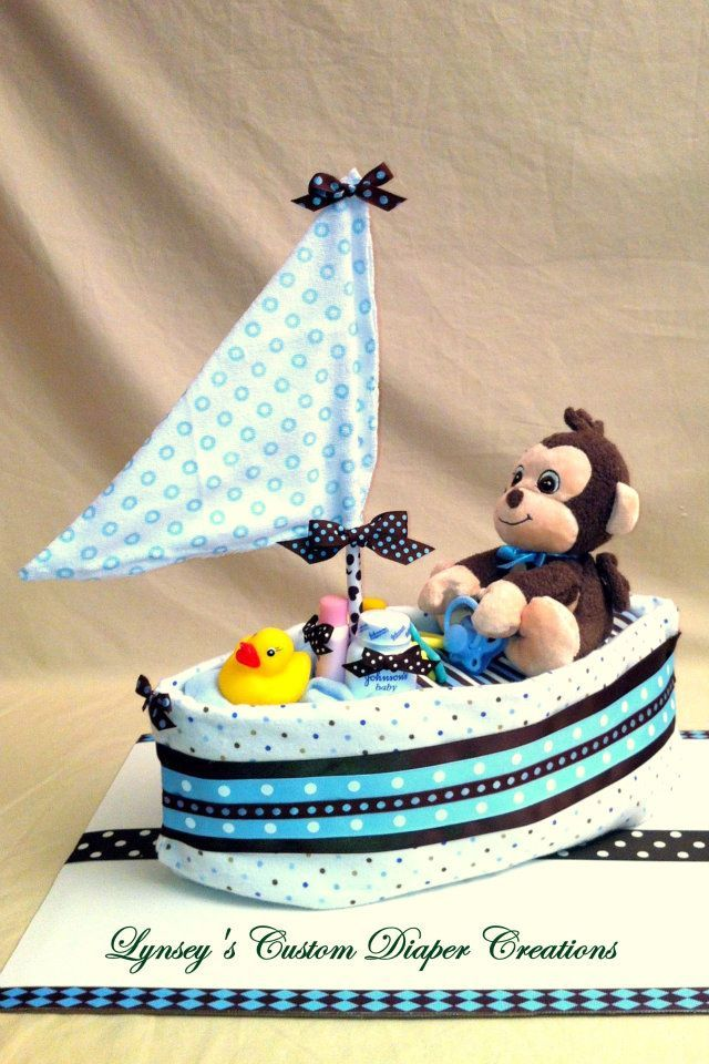I like this cute nautical diaper cake... It would make a good baby shower gift or decoration!