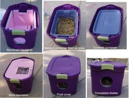 For those who are wondering how they can help outdoor cats in bad weather and cant take them in, check out this pic on how to create simple shelters from storage bins