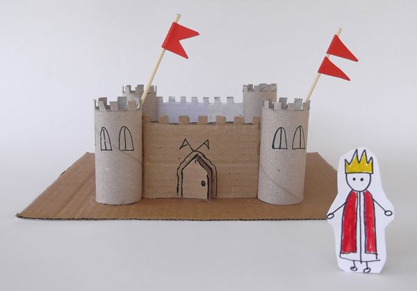 castle from toilet paper rolls and cardboard,