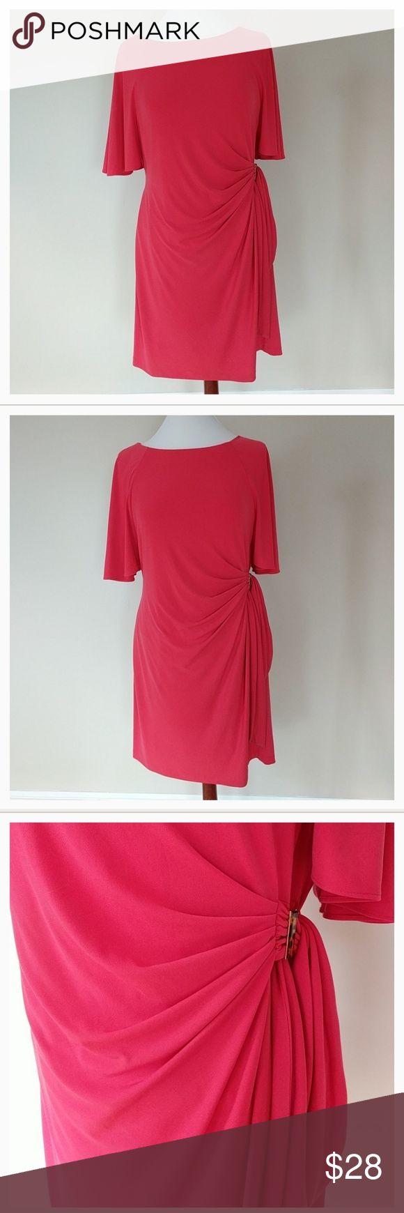 TAHARI Arthur S. lavine dress NWOT💥1 DAY SALE💥 Coral, gathered at side, petite 14, NWOT Tahari Dresses Midi