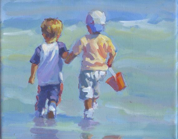 Título: dos LITTLE BEACH BOYS Esto es una 8 x 10 la pintura de acrílico sobre lienzo estirado. Dos chicos con entusiasmo acercan a la orilla del agua donde estoy seguro que tendrá sus zapatos. Pero, tal vez no; usted sabe cómo son los chicos...