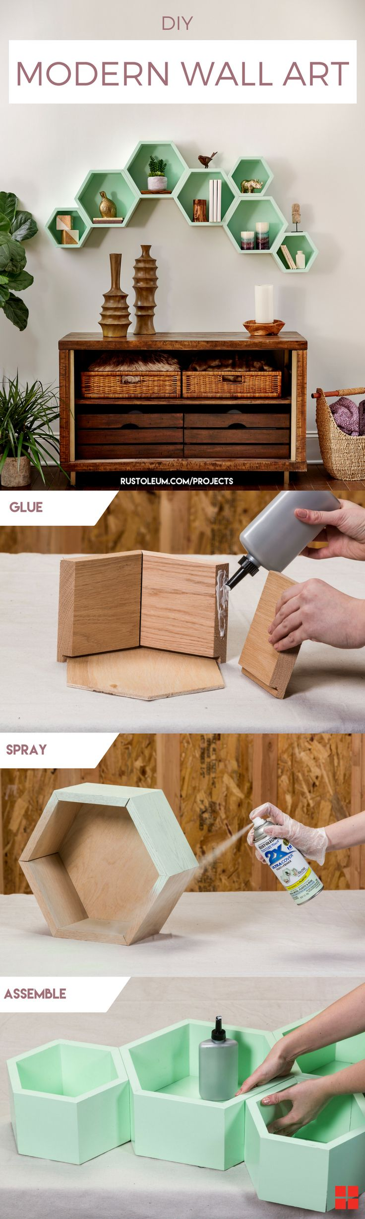 Learn how to make DIY wall art that is perfect for your modern living room or bedroom. This large wall art is easy to DIY and place above your couch or in your dorm. Painting this wooden decor is easy with Rust-Oleum 2X Ultra Cover Gloss Spray in Modern Mint.