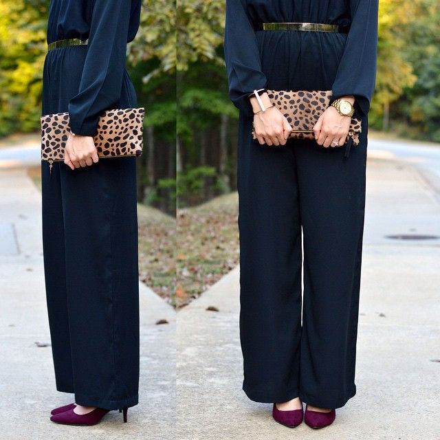 Preview of my next blog post in pretty much the easiest outfit for fall. Ever. You're going to love this long sleeve black jumpsuit by @houseofsorella! Gold belt is by @kabayarefashion 😍