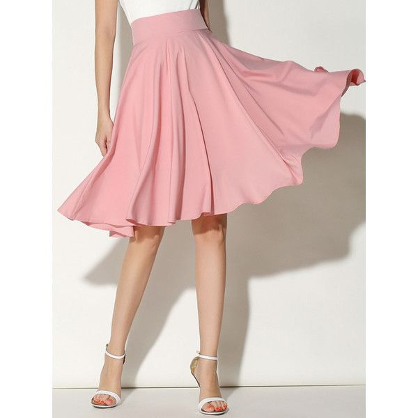 Choies Pink High Waist Midi Skater Skirt ($17) ❤ liked on Polyvore featuring skirts, pink, skater skirt, circle skirt, red skater skirt, high waisted skater skirt and red flared skirt
