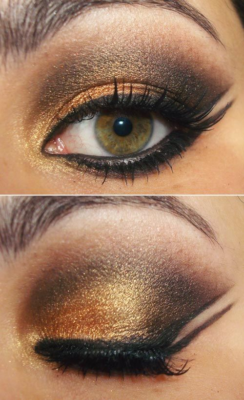 double wing: Dramatic Makeup, Golden Eye, Eye Shadows, Pocahontas Makeup, Makeup Ideas, Black Gold, Gold Eye Makeup, Double Wings Eyeliner, Eyeshadows Ideas