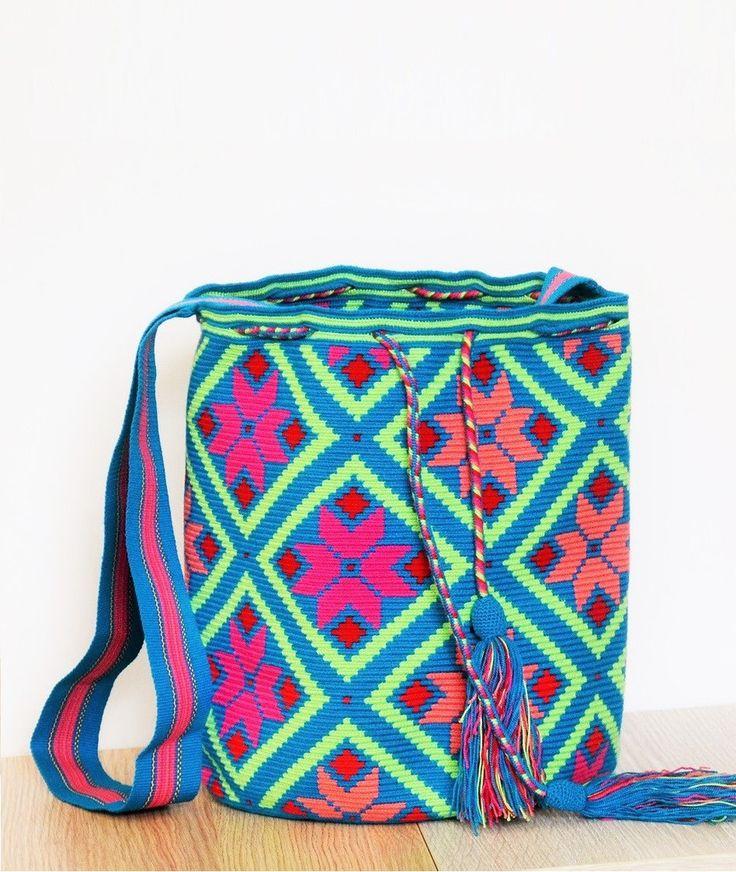 blue wayuu mochila bag multicolour pattern