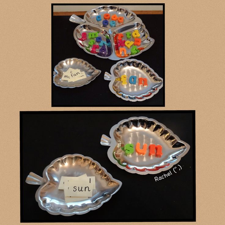 "More cvc words - taking advantage of metal dishes from Rachel ("",)"