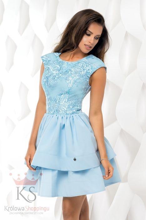 niebieska rozkloszowana sukienka