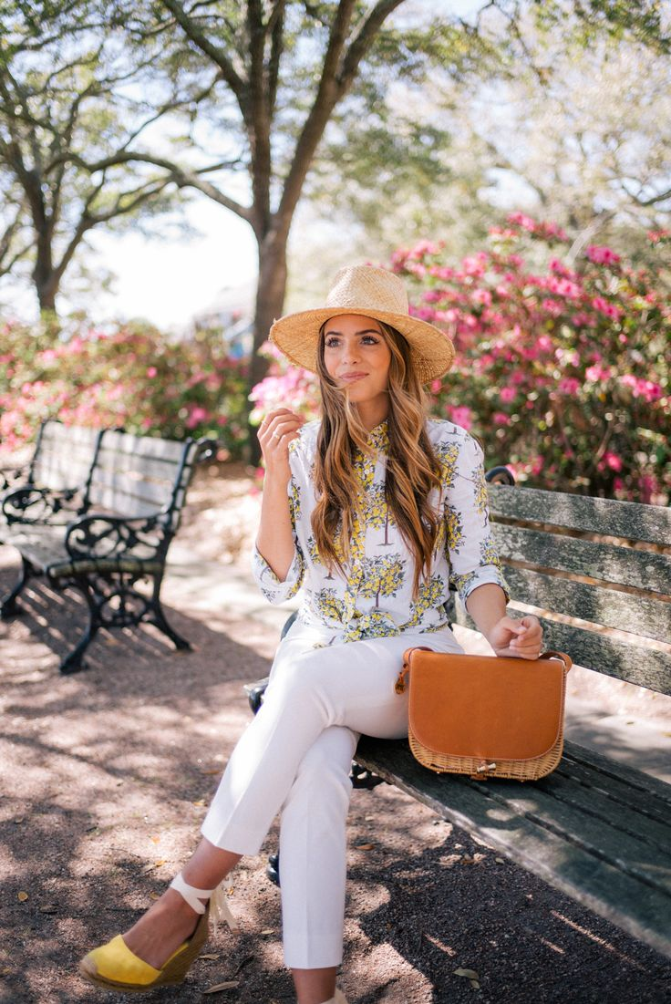 Gal Meets Glam Three Looks Around Charleston With J.McLaughlin - J.McLaughlin top, pants & bag c/o, Castaner espadrilles & Preston & Olivia hat