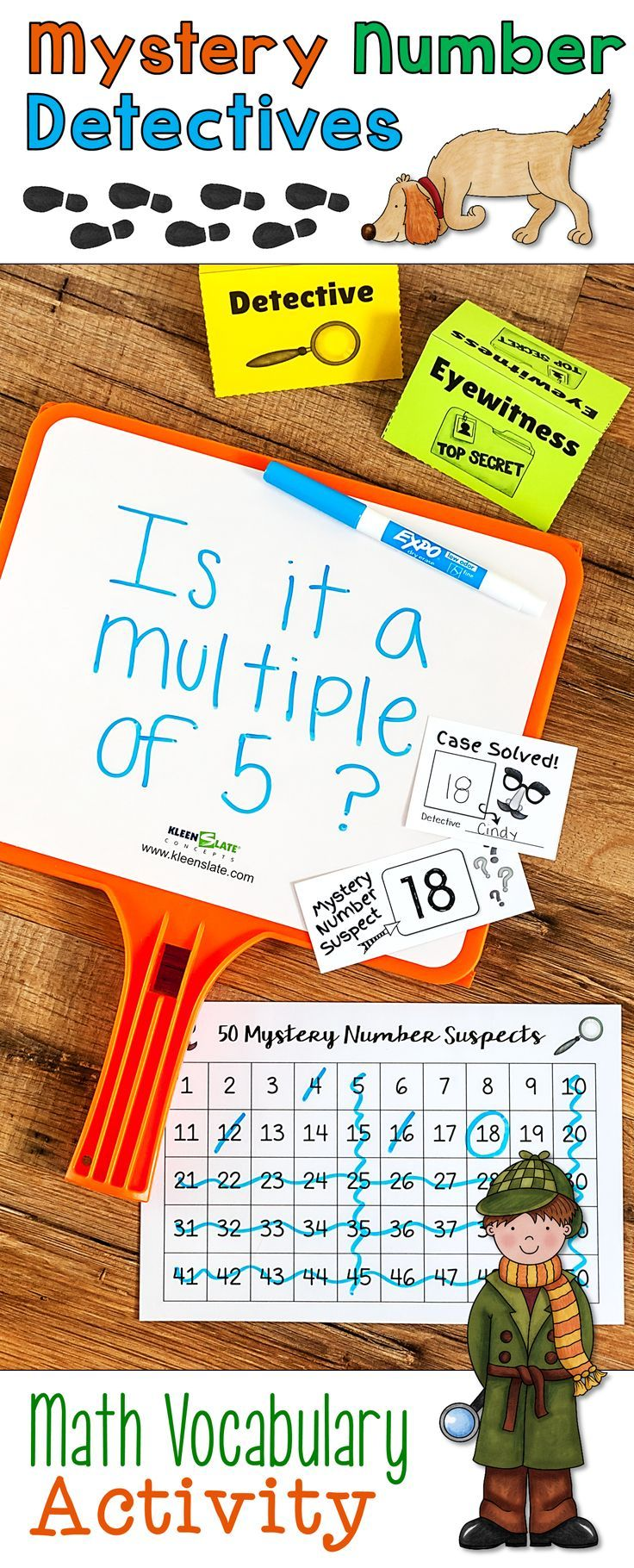 Mystery Number Detectives is an exciting math vocabulary game your students will BEG to play, and the activity is so much fun they won't even realize they're reviewing math vocabulary! Includes teacher's guide, game boards, task cards, activity directions, math word wall cards, and task card images for Plickers.