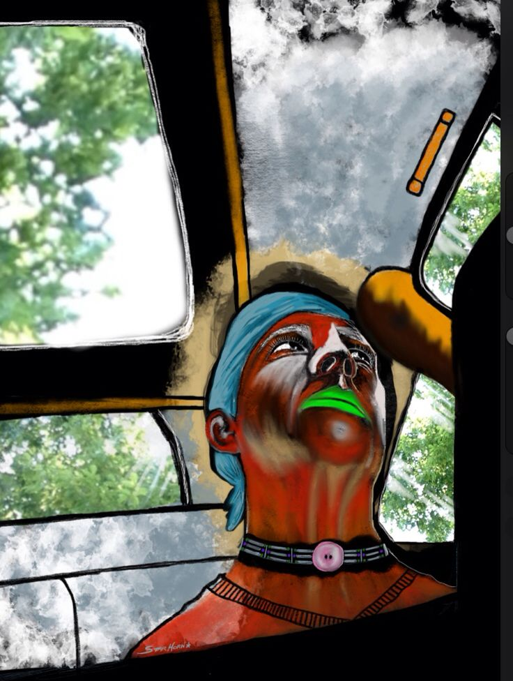 """Collage with photograph and digital drawing in Procreate. Part of a """"Buckled In"""" series I did where I did various self portraits from the confines of a car."""