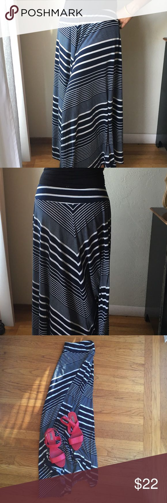 "Metaphor large blue & white striped maxi skirt L Extra long maxi dress by Metaphor. 95% polyester 5% spandex. 32"" elastic waist, 39"" length (at longest point, bottom of skirt is rounded). Slight wear - minor fading from wash. 2 for 15% off. Lmk any questions. Metaphor Skirts Maxi"
