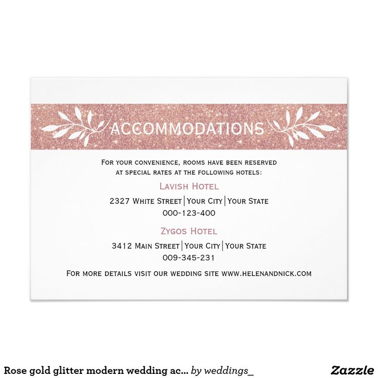 #Rosegold glitter modern wedding accommodations card