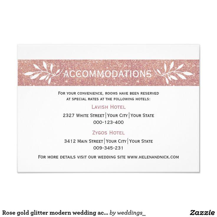 #Rosegold glitter modern wedding accommodations card