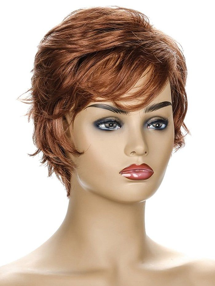 Inclined Fringe Short Natural Straight Synthetic Wig