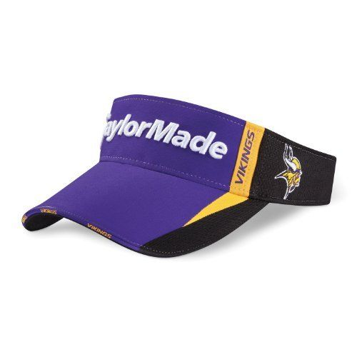 Taylormade NFL Minnesota Vikings Visor, Purple/White by adidas. $10.86. No Fur. Dark underbill to reduce glare. 40% Nylon, 45% Polyester, 15% Cotton. Moisture-wicking headband. Adjustable back. Performance moisture wicking fabric with UV protection of 30 UPF. Polyester 45%/ Nylon 40%/ Cotton 15. Wear it like the pros do in the TaylorMade 2012 NFL Visor. This authentic performance headwear features your favorite team's logo over the left ear and on the bill.. Save 61% Off!