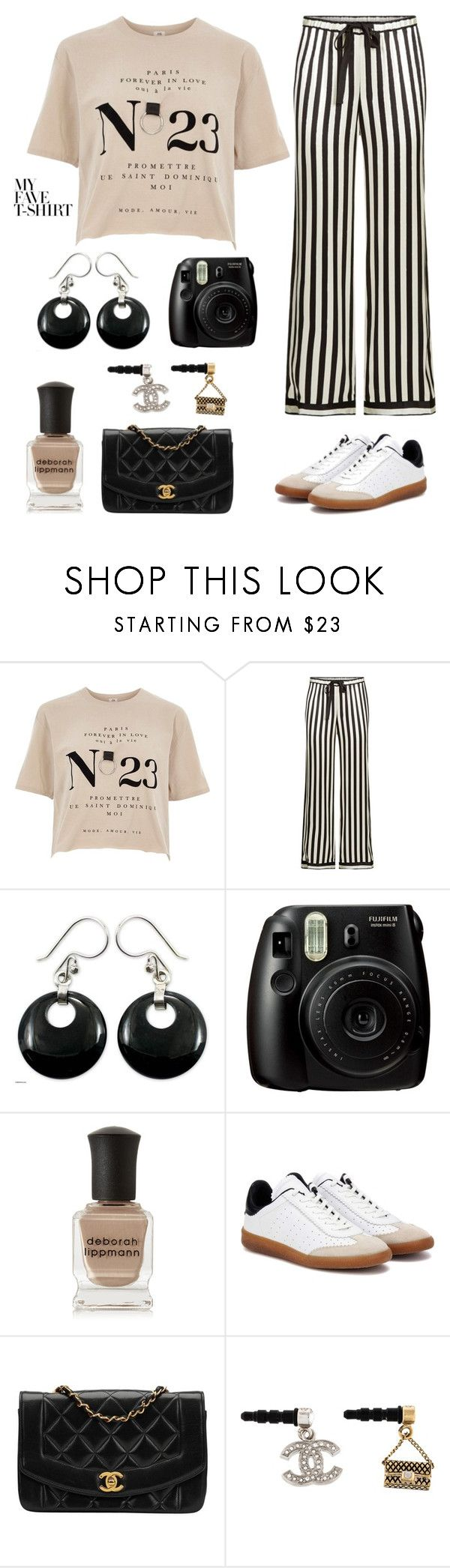 """my favorite tshirt"" by im-karla-with-a-k ❤ liked on Polyvore featuring River Island, Morgan Lane, NOVICA, Fujifilm, Deborah Lippmann, Isabel Marant, Chanel and MyFaveTshirt"