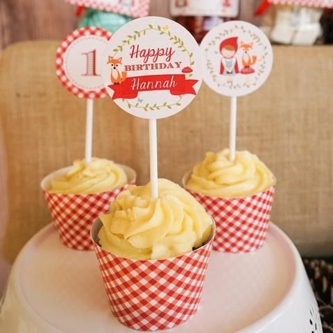 Little Red Riding Hood Cupcake Toppers | Cupcake Collars