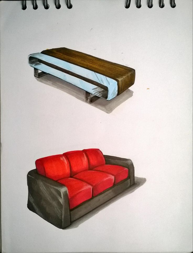 Mesa, sofa, wooden table,  couch.  Furniture Sketch. Marcadores, markers, illustration, ilustración