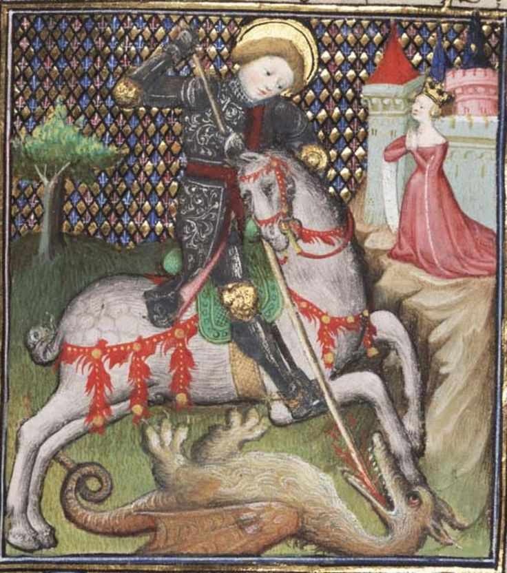 St. George and the dragon. Book of Hours, Use of Rennes, c. 1400-15 (Paris). Jean le Petit, scribe; follower of the Egerton Master, illuminator. MS Widener 4, fol. 188r. Free Library of Philadelphia.