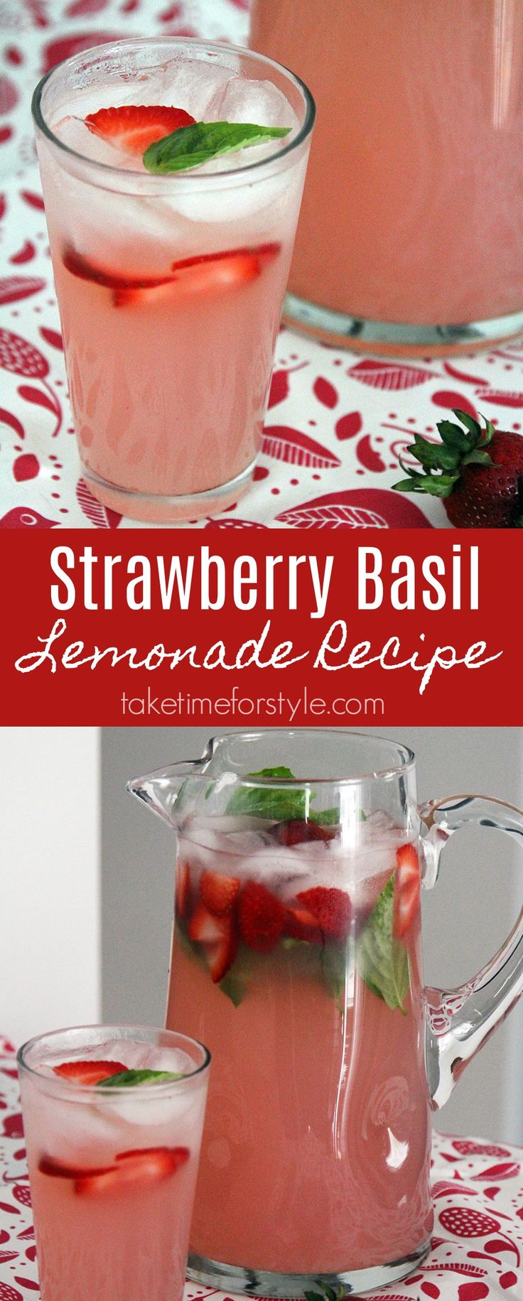 Strawberry basil lemonade recipe - This tasty drink can be made as a cocktail or mocktail! #lemonade #strawberry